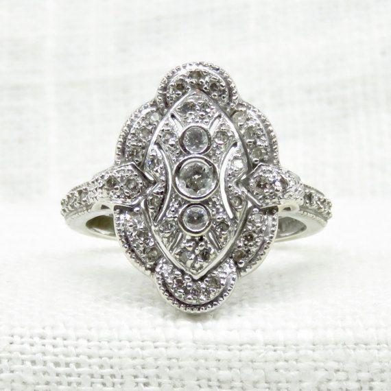Art Deco Diamond Engagement Ring in 14k Gold .50 Carats; Vintage Natural Diamond Ring; Vintage Dinner Ring or Promise Ring; Vintage Wedding