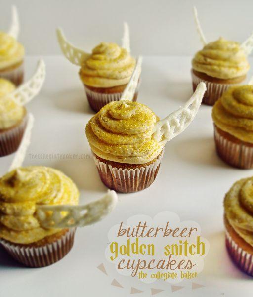 Butterbeer & Golden Snitch Cupcakes! thecollegiatebaker.com
