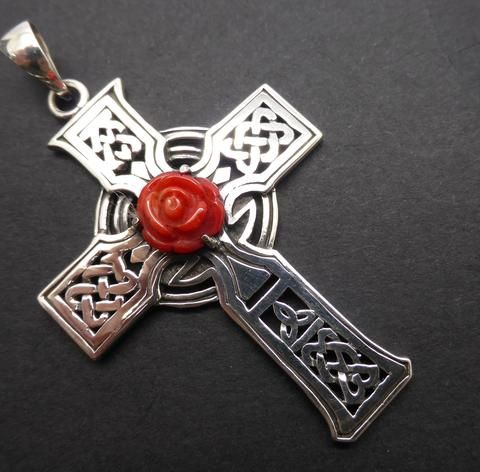 Majestic Celtic Rosy Cross Pendant in 925 Sterling Silver | Rose hand carved from natural red coral | Rosicrucian | Crystal Heart Melbourne since 1986