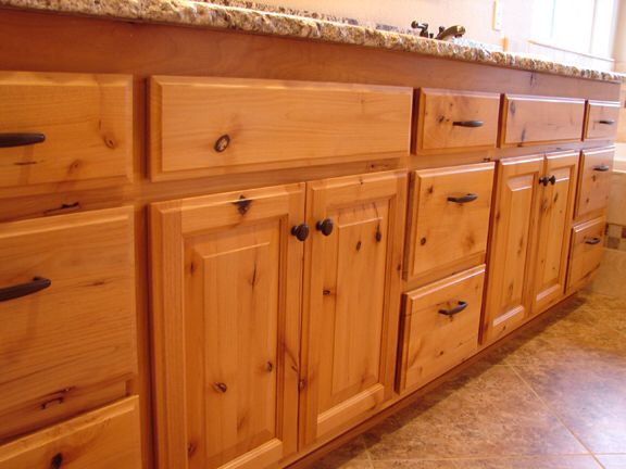 These knotty hickory cabinets are what we are using for our kitchen i love the knobs and pulls - Knotty hickory kitchen cabinets ...