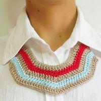 Crochet striped necklace, free pattern, chart with symbols, written instructions/ Collar de rayas a ganchillo, patrón gratis, esquema con símbolos, instrucciones escritas