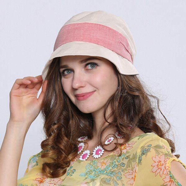 Summer bucket hat for women cotton linen sun hats outdoor wear