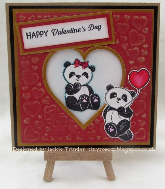 Tinyrose's Craft Room: Cute Pandas Valentine's Day Card made with the free gifts from issue 142 of Papercrafts Essentials magazine.