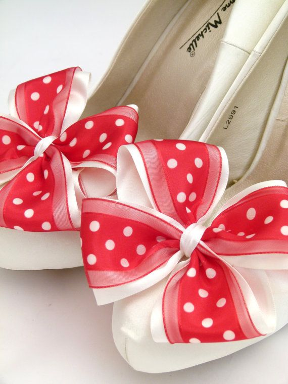 Ivory ShOe CliPs Satin Red Polka Dot by SeriouslySassyStuff, £9.99