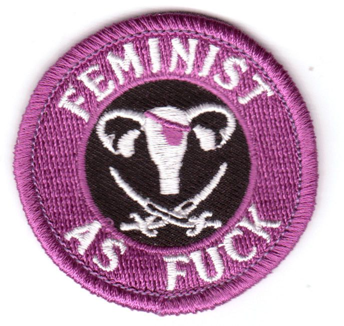 Iron on patch - Feminist as Fuck Measures 2 inches round Instructions included Designed by Beth in her Chicago, IL studio
