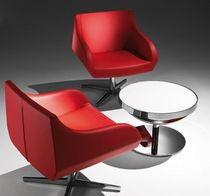 Contemporary armchair / steel / swivel / contract