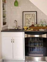 tiny kitchen under stairs | basement ideas even a dry bar for movie night would be great