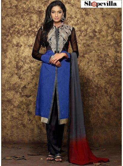 Baronial Blue Chanderi Cotton Designer Pakistani Suit- HWH-1004