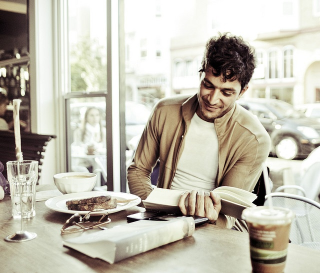 some cute guy at the coffee shop reading; books; cafe; book cafe; bookstore http://www.pinterest.com/SheriJaus/book-cafe/