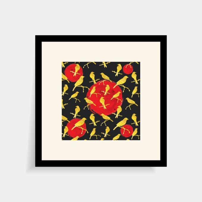 Eccentrico poster murale Uccelli in stile Kitsch. #Poster da parete di alta qualità, volutamente in stile #Kitsch per chi ama i glitter, le paillettes e l'#arredamento vintage ed eccentrico. Ideale in ambienti moderni e metropolitani, come case in città o ambienti lavorativi di #design. Dimensioni45cm x 45cm  Cartacarta fotografica patinata opaca