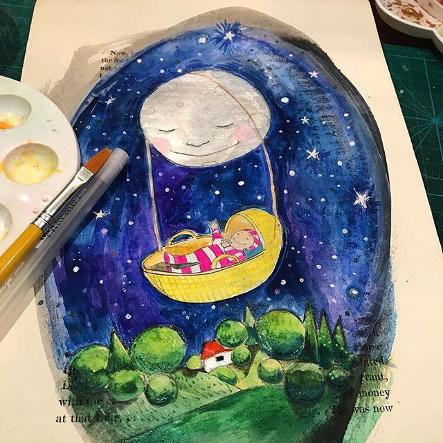 Moons cradle. Sleep tight. All moon 🌑 works original and available for purchase. DM me for détails. #moon #moonlight #cradle #lullaby #nighttime #nightsky #illustration #irishillustration #irishart #keepcreative #artonpaper #artforwalls #collectart #originalart #artforsale