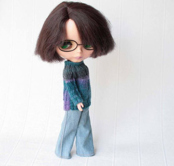 Blythe sweater, Hand knitted variegated wool sweater for Blythe doll from VolnaDollsClother, Many colored sweater for 12 inch doll, Miniknit