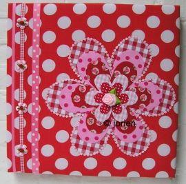 stofschilderij roze-rood bloem stip en ruit