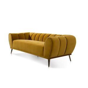 Chic Home Design Sybel Modern Gold Velvet Sofa At Lowes Com In