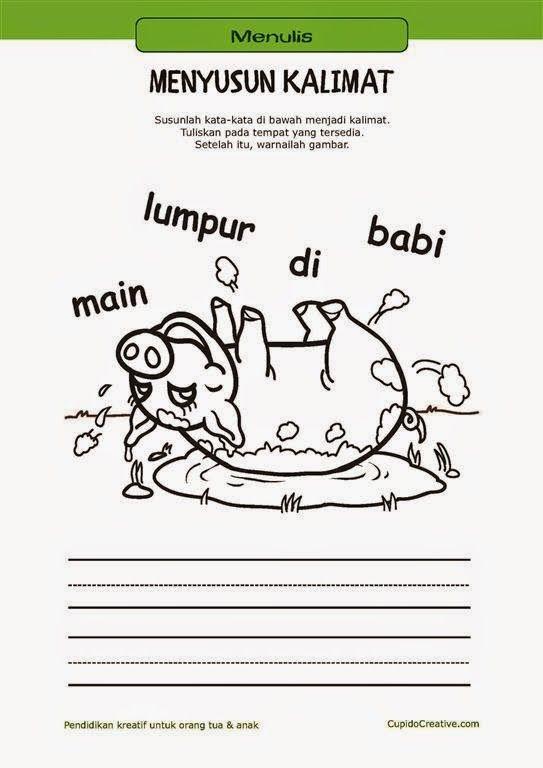 belajar membaca & menulis anak TK/SD, menyusun kata menjadi kalimat & mewarnai gambar babi