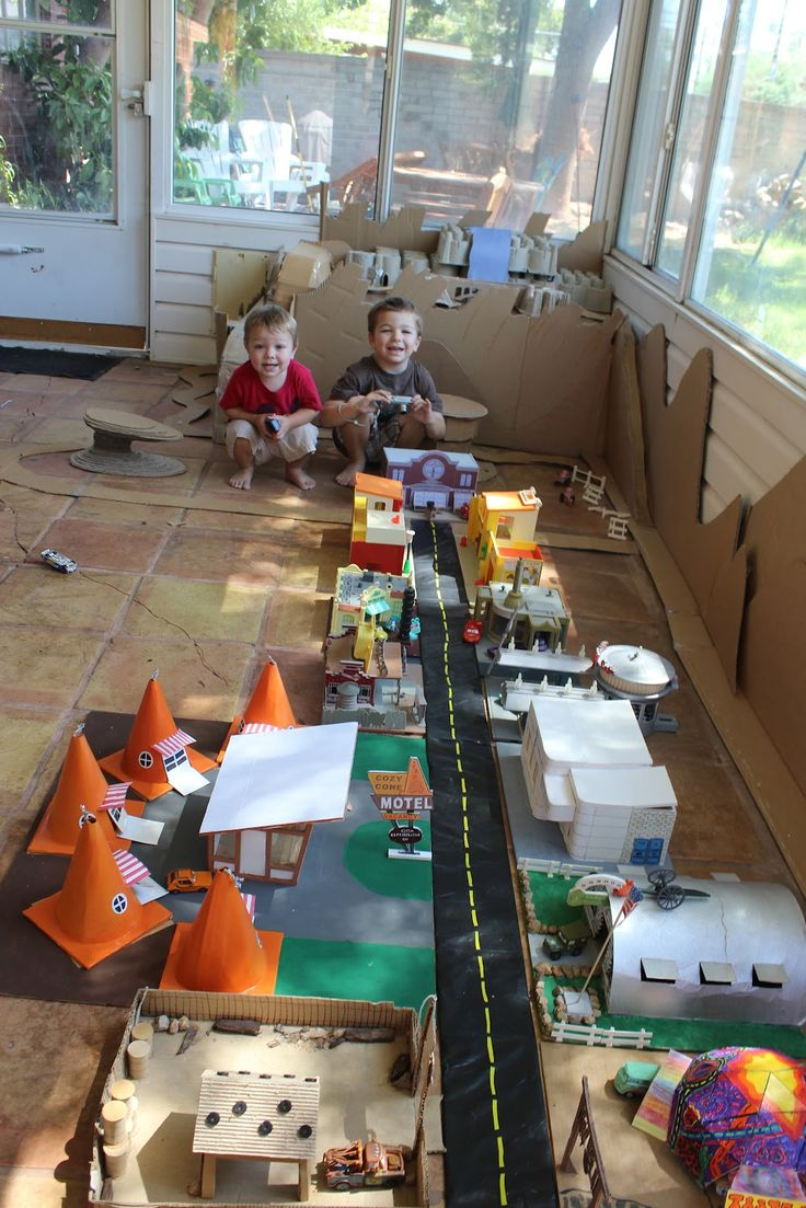 A incredibly accurate build of Radiator Springs out of cardboard. Kind of amazing. I wish we had the room to do this.
