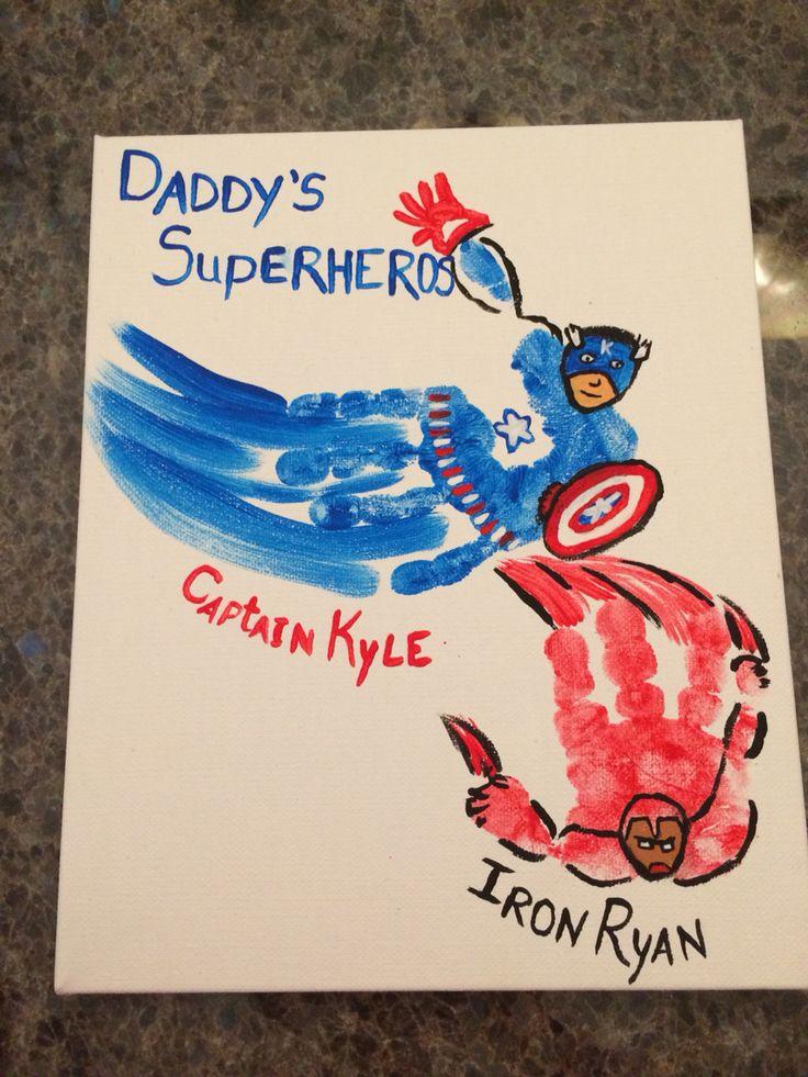 Superhero Handprints Crafts Fathers Day Crafts Diy