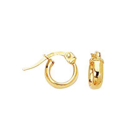 14k Yellow Gold Small Hoop Child/Baby Earrings, Women's, Size: 3