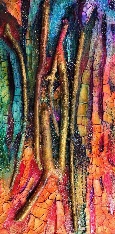 Der heilende Fluss, moderne vertikale Farbe mit Knistern, Zweigen, Diamanten, Wasser