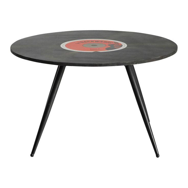 Runde couchtisch im Vintage-Stil aus Holz, D 70cm, schwarz Vinyl