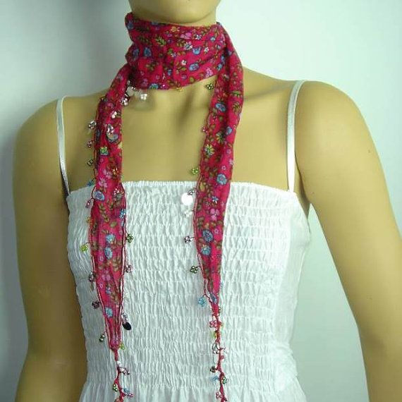 Pink Beaded Scarf Necklace with Blue Flowers by istanbuloya