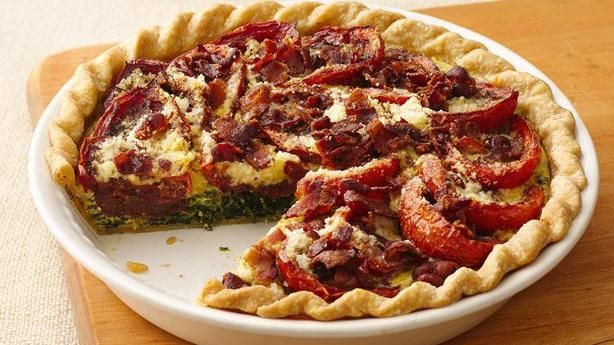 Balsamic Roasted Tomato-Spinach-Bacon Pie | Recipe