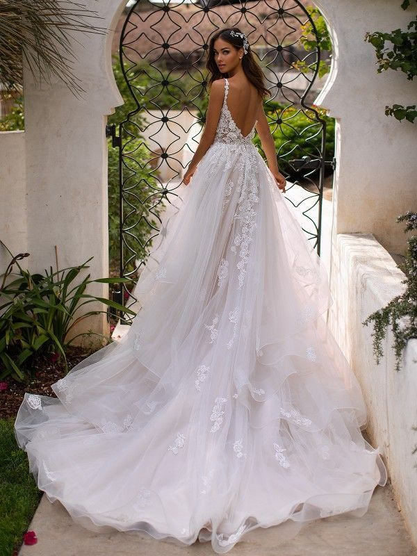 Tulle Full A-Line Wedding ceremony Robe Moonlight Couture H1394 – #ALine #Couture #Full #…