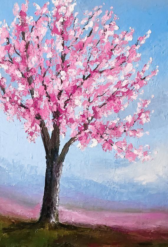 Cherry Blossom Painting Palette Knife Art Tree Painting Etsy Artpainting Tree Painting Canvas Cherry Blossom Painting Tree Painting