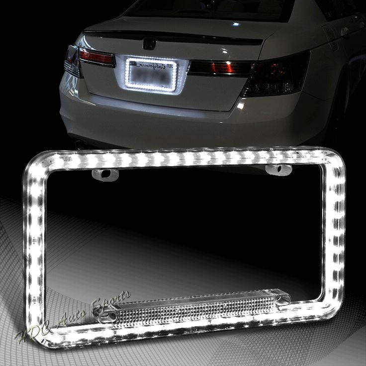 Universal 12v 54 White LED Lighting Acrylic Plastic License Plate Cover Frame