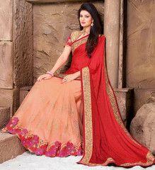 Precious Peach and Red Saree - https://www.ethanica.com/products/precious-peach-and-red-saree-1