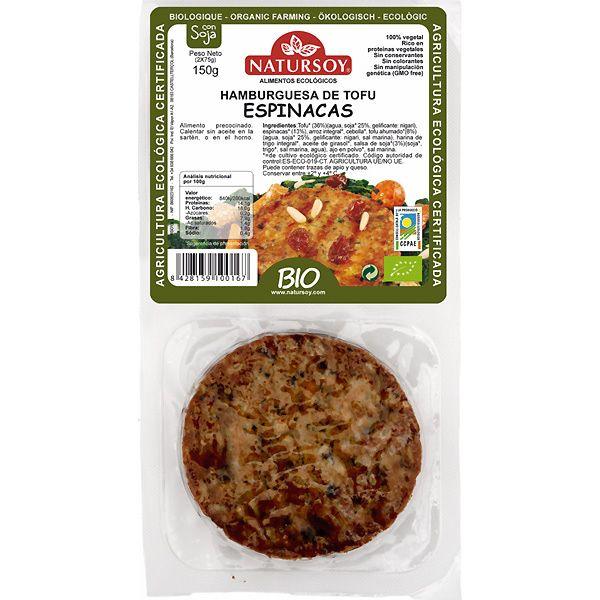 NATURSOY hamburguesa de tofu y espinacas pack 2 unidades estuche 150 g-Hipercor Tu hipermercado compra online