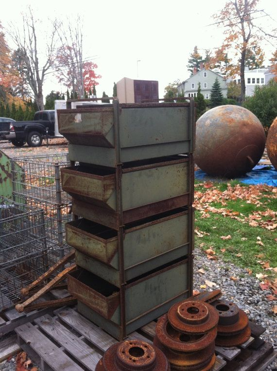 Industrial Drawer Dresser Storage Unit Large Green Paint Rust