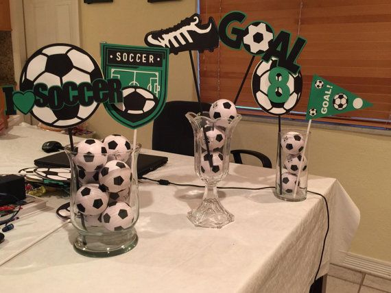 Soccer theme centerpieces by Cre8iveDesignss on Etsy