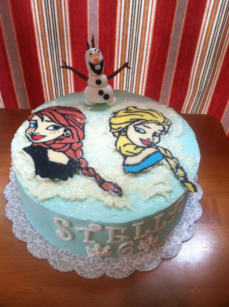 Cake Decorating Frozen Buttercream Transfer : Anna and Elsa Frozen Cake. Buttercream transfer. Disney ...