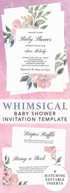 Whimsical baby shower ideas by LittleSizzle. Whimsical invitation template for girl baby shower. Click through to create your own printable whimsical floral baby shower invitations for a gender neutral shower. Floral baby shower invitation and matching editable bring a book request card and printable diaper raffle ticket.#babyshowerideas#babyshowerinvitations#template#DIY#whimsical#girl#genderneutral#floral