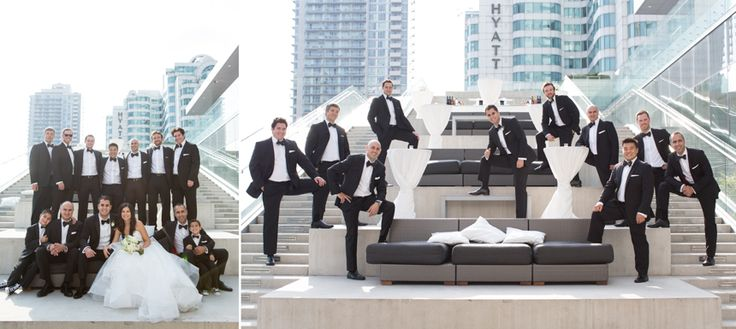 Malaparte Terrace wedding party just guys with bride and just guys with groom