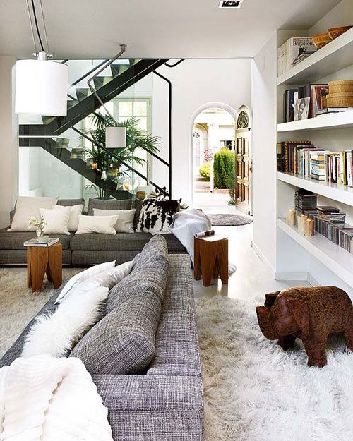 .Grey Couch, Living Rooms, Stairs, Livingroom, Shelves, House Interiors, Interiors Design, Rugs, White House