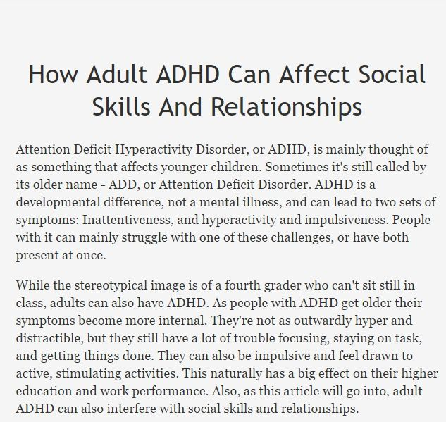 Attention Deficit Disorder In Adults Relationships