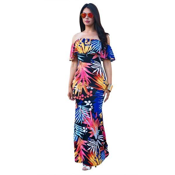 Ruffles women dresses summer casual short sleeve slash neck printed maxi long dress bohemian party dress vestidos