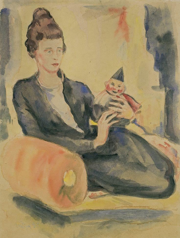 Zygmunt Waliszewski: Portret Jeleny Pietrakowskiej, 1917, akwarela, papier, 42 x 31,5 cm