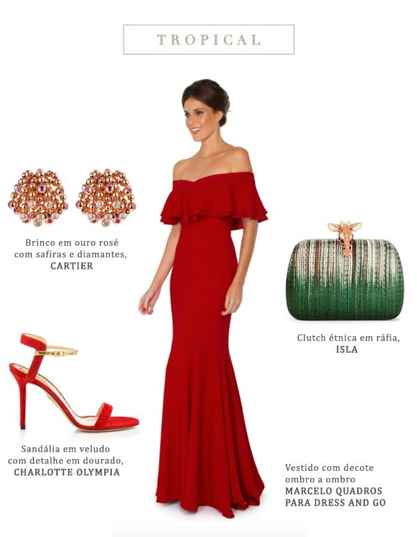 Look madrinha de casamento  estilo tropical - vestido vermelho com decote ombro a ombro e babados { Vestido: Dress & Go | Brincos em ouro rosé: Cartier | Sandália: Charlotte Olympia | Bolsa: Isla }