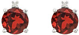 QVC Sterling Silver Round Gemstone & Diamond AccentStud Earrings