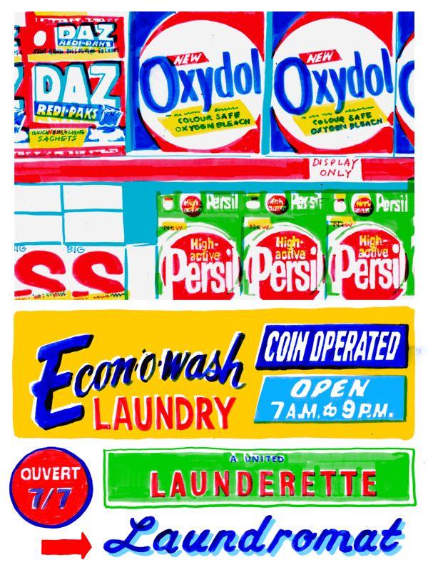 Laundromat illustration felt tip marker pen print by Holly Wales