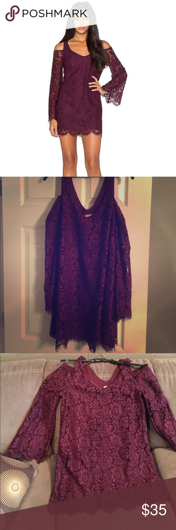NWOT purple lace dress. Chaser Purple bell sleeve dress by Chaser. This dress is brand new, and has never been worn. Chaser Dresses Mini