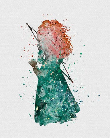 Princess Merida Brave Watercolor Art - VIVIDEDITIONS