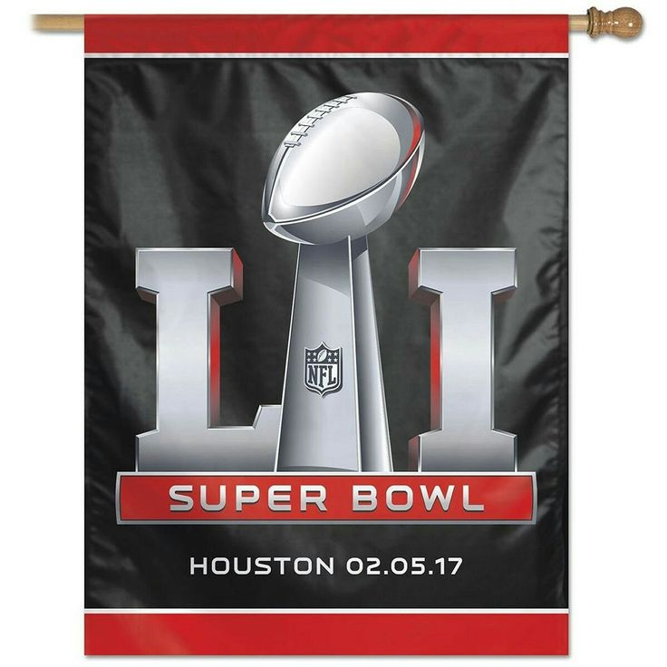 "Super Bowl 51 and 2017 House Flag  27"" x 37"" in Size with Top Pole Sleeve for hanging from your Flagpole Made of 1-Ply Polyester with Double Stitched sewn Perimeter Screen Printed Team Logos are Viewable from Both Sides (Opposite Side is a Reverse Image) Perfect for Flying at Home or as a Wall Hanging on any Wall NFL Officially Licensed by Wincraft, Inc."