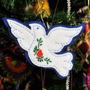 Dove, Felt Christmas Tree Ornament Tutorial