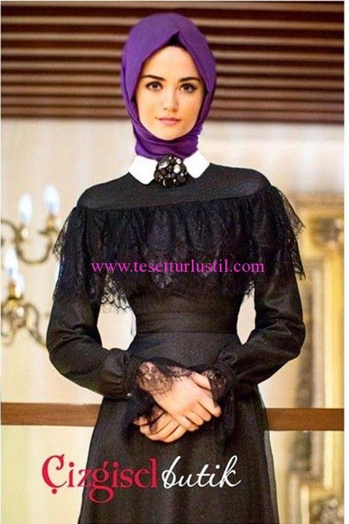 Çizgisel Butik 2016 Siyah Tül Detaylı Elbise