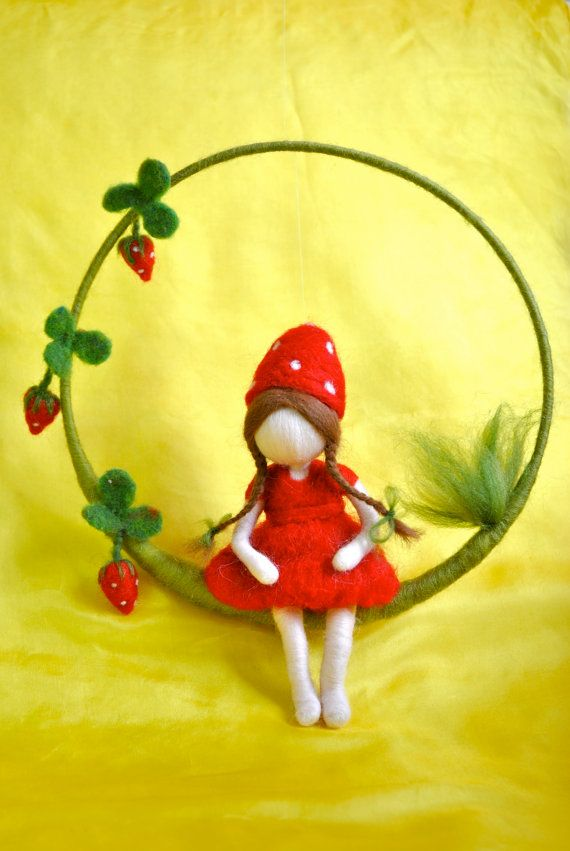 Waldorf inspired needle felted doll mobile: Strawberry fairy