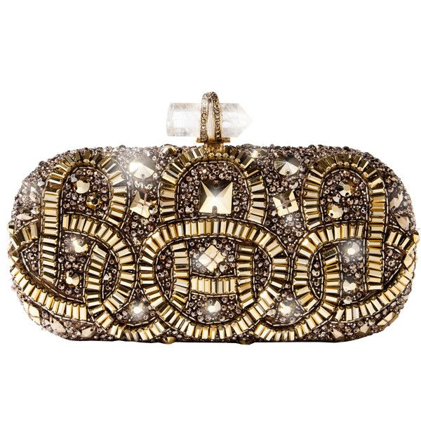 Marchesa Gold Embroidered Clutch ❤ liked on Polyvore